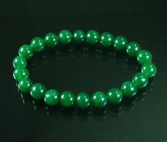 "Lovely Chinese Tibet Green Jade .3"" Gemstone Bead Buddhist Prayer Mala Bracelet"