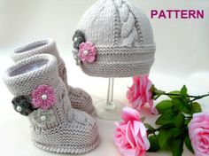 grey knit hat (and boot) for girl