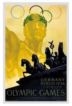 BERLIN 1936 SUMMER OLYMPIC GAMES Official Poster Reprint - Bavaria, Germany, Games of the XI Olympiad ~available at www.sportsposterwarehouse.com
