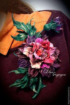 """Броши ручной работы. Ярмарка Мастеров - ручная работа. Купить Цветы из кожи. Роза-брошь """"Акварель"""". Handmade. Цветы из кожи"""