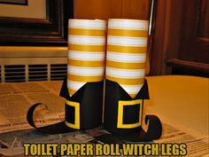 Toilet Paper Witch Legs halloween halloween decorations halloween crafts halloween ideas diy halloween halloween party decor halloween craft halloween craft ideas halloween kids crafts halloween kids diy
