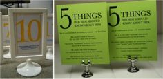 Ideas for table numbers....