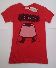 Lights On Funny Womens T-Shirt L Lamp Legs Washed Red Palmer Cash USA New #PalmerCash #GraphicTee