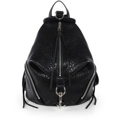 Rebecca Minkoff Julian Leather Backpack (2,120 BOB) ❤ liked on Polyvore featuring bags, backpacks, apparel & accessories, black, black leather bag, leather bags, black rucksack, leather daypack et real leather backpack