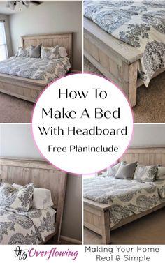 Diy King Size Headboard, How To Make Headboard, Bed Frame And Headboard, Headboards For Beds, How To Make Bed, Headboard Ideas, Bed Frames, Making A Headboard, Making A Bed Frame