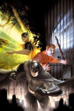 Everyone is fighting for their lives. Batman under Gotham, Gordon in Blackgate, and Batgirl in South America. Comic Book Artists, Comic Book Characters, Comic Character, Comic Books Art, Dc Comics, Batman Comics, Batgirl, Batwoman, Bob Kane
