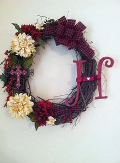 18 Oval Grapevine Wreath with Cross and by ElsiesCreativeDesign, $45.50