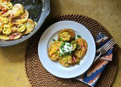 Irish Nachos: Sliced potatoes, jalapenos, bacon, and cheddar cheese.
