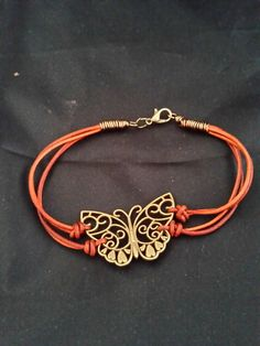 Antique Brass Butterfly ~ leather bracelet ~ tanned leather