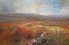 Kristan Baggaley Towards Kinder Scout Across Burbage Moor. Mixed Media on Canvas