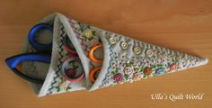lovely embroidery, scissor case quilt pattern from ulla's quilt world blog