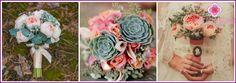 Vestuvių puokštė su sukulentai: galimybės kartu su kitomis spalvomis, nuotraukos