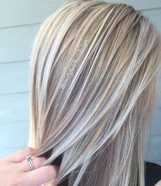 Hair Color Trends 2017/ 2018 – Highlights : Dimensional honey blonde and platinum white blonde healthy shiny hair by Emily F…