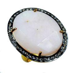 Silvestoo India Pink Opal & Cubic Zircon Gemstone 925 Sterling Silver Vermeil Ring US Sz 6.5 Adjustable PG-100721   https://www.amazon.co.uk/dp/B06XXHJ68J