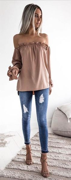#summer #outfits Mocha Off The Shoulder Top + Ripped Skinny Jeans + Blush Sandals