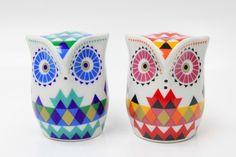 Owl Salt & Pepper Shaker Set Porcelana solniczka i pieprzniczka - Sówki Trójkąty Pinned by www.myowlbarn.com