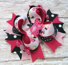 Pink Lady Bug Hair Bow Boutique Pink Lady by JustinesBoutiqueBows