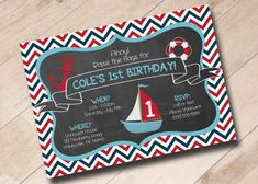 Nautical Sailor Anchor Sailboat Themed Invitation by areUin, $15.00