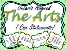 The Arts : Ontario Aligned I Can Statements for Grade 3 Ontario Curriculum, I Can Statements, Grade 3, Visual Arts, Assessment, Teaching Resources, Drama, Mint, Classroom
