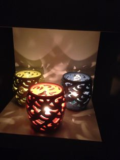 Our beautiful coloured waves votive holders love the light they shine!!