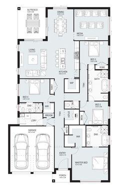 Sabrina 29 - Single Level - Floorplan by Kurmond Homes - New Home Builders Sydney NSW Family House Plans, Country House Plans, Dream House Plans, Small House Plans, House Floor Plans, Home Design Floor Plans, Bedroom Floor Plans, Single Floor House Design, Single Storey House Plans