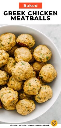 This unique recipe for Greek Chicken Meatballs is the perfect blend of Greek flavors that will have you wanting more. These ground chicken meatballs are baked in the oven for a healthier option. Chicken Meatball Recipes, Baked Chicken Recipes, Ground Chicken Meatballs, Baked Greek Chicken, Homemade Tzatziki Sauce, Food Hacks, Oven, Dairy, Easy Meals