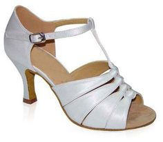 $49.00 When I was planning my own wedding, I was looking for affordable ballroom dance shoes that would go with my dress.  These would be GREAT wedding dance shoes!  T-strap shoe embellished with four knots.  White satin upper, suede sole.   http://hitthegrounddancing.com/store/store/products/white-satin-4-knot-latin/