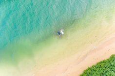 Hawaii drone photography bride and groom at Kualoa Ranch Wedding Venue Secret beach located Oahu, Hawaii Wedding Videos, Wedding Photos, Aerial Photography, Wedding Photography, Destination Wedding, Wedding Venues, Kualoa Ranch, Beach Elopement, Island Beach