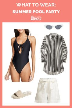 Try this for your next pool party a seemingly basic onepiece is spruced up with a brassy cutout sweet bow and sporty racerback Wear it with a striped buttonup beach shirt. Striped Leggings, Women's Leggings, Leggings Outfit Summer, Looks Party, Pool Party Outfits, Summer Pool Party, Beach Shirts, Ladies Dress Design, Outfit Of The Day