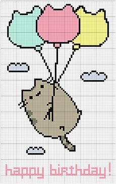 Pusheen says Happy Birthday :D #crossstitch #pattern #etsy #diy #xstitch #stitchers #birthday #pusheen #cat #balloons #embroidery #gráficos #pontocruz #esquemas