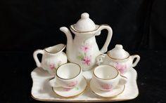 Vintage Lefton Porcelain Miniature 10 Piece Tea Set Pink Floral Pattern #01518 #Lefton