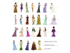 Gibson Girl Fashion Printable Clip Art Beaux Arts Ladies Belle Epoque Women Downton Abby Gowns Titanic Era Fashion Instant Digital Download by mindfulresource on Etsy
