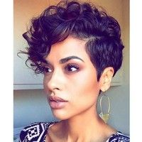 Brand:Aisi Hair Color:Black Styles:Short Curly Wig Material:Less Shiny Heat Resistant Synthetic Fibe