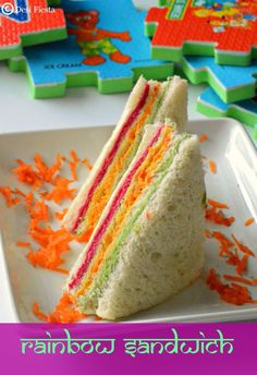 You searched for Rainbow sandwiches - Desi Fiesta Kids Party Sandwiches, Picnic Sandwiches, Bento, Breakfast Sandwich Recipes, Rainbow Food, Rainbow Salad, Buffet, Edible Food, Appetizers For Party
