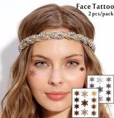 9f8a36c5965a2 Details about Snow Flakes Christmas Gold Silver Temporary Face Tattoo  Glitter Cheek Makeup UK