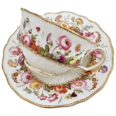 Teacup and saucer attr. to David Evans, Coalport ca 1825 Antique China, Vintage China, Vintage Tea, David Evans, China Tea Cups, Rose Tea, Tea Service, My Cup Of Tea, Mugs