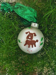Palm Tree Christmas Ornament Glass Ball Handpainted by Kathy1910