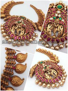 Mango Necklace with Krishna Locket Antique Jewellery Designs, Indian Jewellery Design, Jewelry Design, Indian Jewelry, Antique Jewelry, Ruby Jewelry, Wedding Jewelry, Gold Jewelry, Mango Necklace