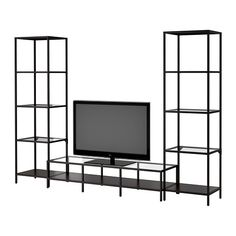 VITTSJÖ TV storage combination IKEA Tempered glass and metal. Hardwearing materials that give an open, airy feel.