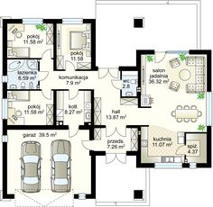 Jaskier projekt - Parter 133.19 m²  + garaż 39.50 m²