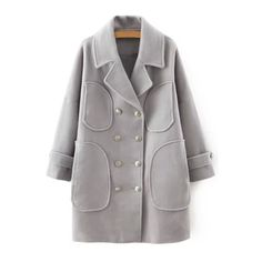 Lapel Neck Double-Breasted Gray Coat GRAY: Jackets & Coats   ZAFUL (93 AUD) ❤ liked on Polyvore featuring outerwear and coats