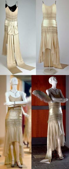 Dress, Lucien Lelong, Paris, 1928. Silk (satin, chiffon, embroidery), glass (diamante), metal (gilt thread). Lelong was one of the leading couturiers of the 1920s. Christian Dior, Pierre Balmain, and Hubert de Givenchy all worked for him. His clients included Greta Garbo, Gloria Swanson, Colette, and Rose Kennedy. McCord Museum.