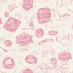 The Henley Studio Retro Bake Words Pink [AF-1220-P] - $10.95 : Pink Chalk Fabrics is your online source for modern quilting cottons and sewing patterns., Cloth, Pattern + Tool for Modern Sewists
