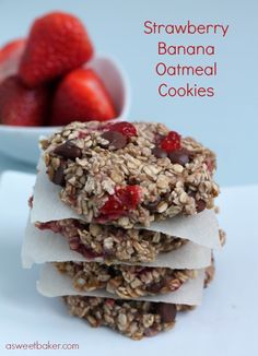 Strawberry Banana Oatmeal Cookies (Egg & Dairy Free)