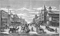 Street scene of Wellington, Kansas Photo of a drawing showing a street in Wellington, Kansas. Date: Between 1870 and 1899
