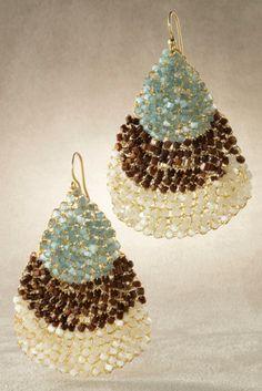 Seaside Earring - Teardrop Earrings, Brazilian Crystal Beads, Golden Wire | Soft Surroundings