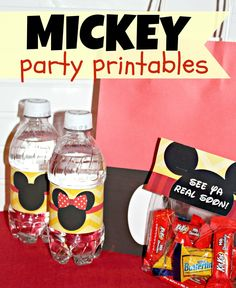 FREE Mickey Mouse Printables - water bottle labels, bag toppers, gift bag decal - perfect for Mickey and Disney birthday parties!