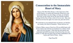 Consecration to the Immaculate Heart of Mary Prayer Card