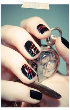 Stripe Rainbow Nail Art