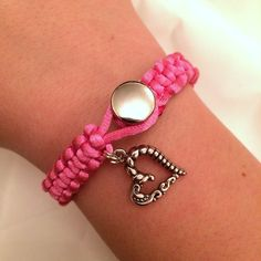 Braided Heart Charm Bracelet Hot Pink Paracord by JaxBoutique, £4.50